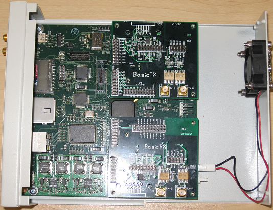 The USRP2 with its two daughter boards attached, developed and produced by Ettus Research