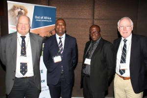 Prof. Michael Inggs, Department of Electrical Engineering, University of Cape Town, (General Conference Chair); Dr. Phil Mjwara, Director General, Department of Science and Technology; Mr. Molahlegi Molope, Armscor and Dr. Brian Austin, Radar Historian at the opening plenary of the 2015 IEEE Radar Conference.