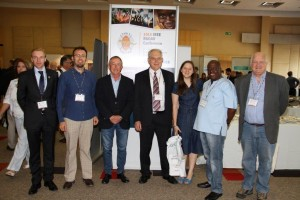 The 2015 IEEE Radar Conference, Local Organising Committee from left to right: A/Prof. Daniel O'Hagan, Co-chair, Technical Programme Committee (UCT); Willie Nel, Co-chair, Technical Programme Committee (CSIR); Anthony Green, Industry Liaison Chair (Reutech); Francois Anderson, Radar 75 Programme (CSIR); Anria Breytenbach, Logistics Chair & Finance Committee (CSIR); Molahlegi Molope, Finance Committee Chair, (Armscor); Prof Michael Inggs, General Conference Chair (Department of Electrical Engineering, UCT). (Not present at the time – Dr Amit Mishra, Tutorial Chair (UCT).)