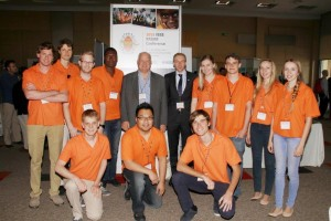 Postgraduate Students who assisted at the conference with Prof. Michael Inggs (centre left) and A/Prof. Daniel O'Hagan (centre right) Department of Electrical Engineering, University of Cape Town.