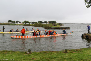 The team heads out of the sheltered pond for their first race in the vlei
